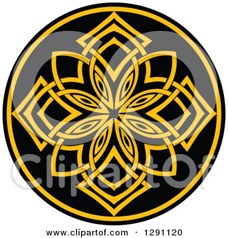 Clipart of a Round Yellow and Black Celtic Medallian Design 3 - Royalty Free Vector Illustration by Vector Tradition SM