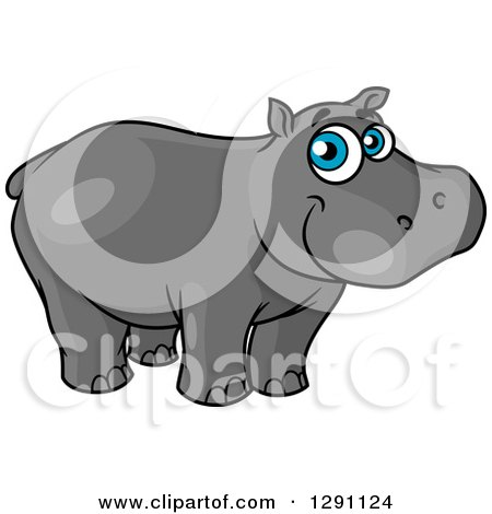 Clipart of a Happy Blue Eyed Happy Hippo - Royalty Free Vector Illustration by Vector Tradition SM