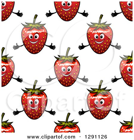Clipart of a Seamless Background Pattern of Welcoming Strawberry Characters - Royalty Free Vector Illustration by Vector Tradition SM