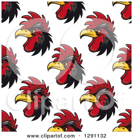 Clipart of a Seamless Background Pattern of Black and Red Rooster Heads - Royalty Free Vector Illustration by Vector Tradition SM