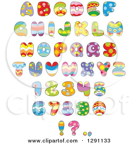 Clipart of Colorful Funky Patterned Easter Themed Alphabet Letters, Numbers and Punctuation - Royalty Free Vector Illustration by Alex Bannykh