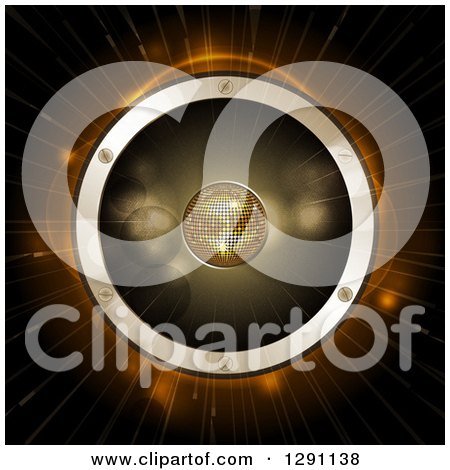 Clipart of a 3d Gold Disco Ball in the Center of a Giant Music Speaker over Flares and Light Rays - Royalty Free Vector Illustration by elaineitalia