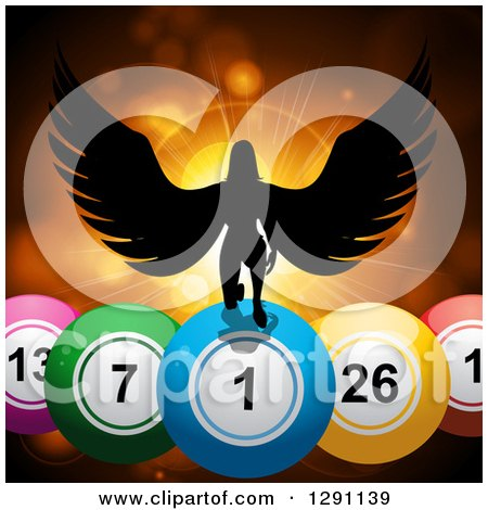 Clipart of a Black Silhouetted Female Angel Kneeling on 3d Giant Bingo or Lottery Balls Against Orange Flares and a Burst - Royalty Free Vector Illustration by elaineitalia