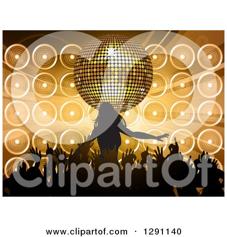 Clipart of a 3d Gold Disco Ball and Music Speakers over a Silhouetted Female Pop Star and Hands of Her Fans - Royalty Free Vector Illustration by elaineitalia