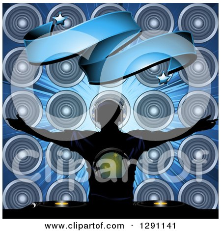 Clipart of a Silhouetted Male Dg Wearing a Disco Shirt, Holding His Arms out Under a Blank Banner, a Consol, and Music Speakers on Blue - Royalty Free Vector Illustration by elaineitalia