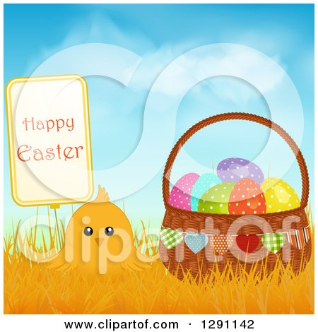 Clipart of a Cute Yellow Chick in Grasses with a Happy Easter Sign and a Basket of Polka Dot Eggs Against Blue Sky - Royalty Free Vector Illustration by elaineitalia