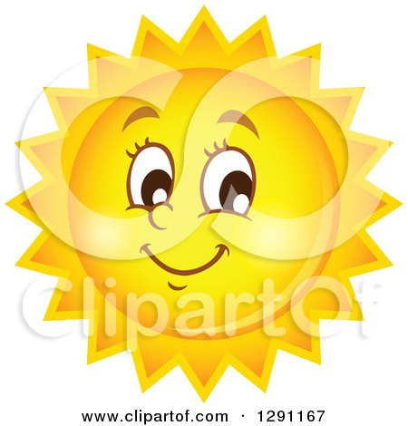 Clipart of a Happy Summer Sun Character - Royalty Free Vector Illustration by visekart