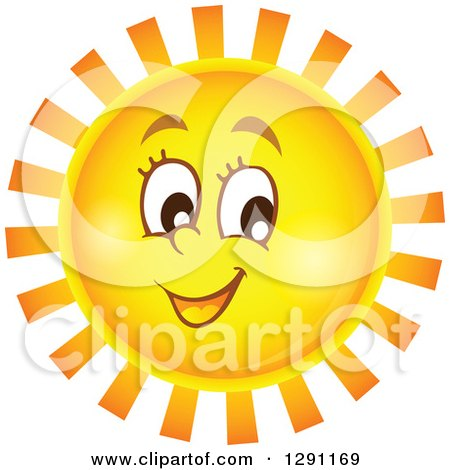 Clipart of a Happy Summer Sun Character with Notched Rays - Royalty Free Vector Illustration by visekart