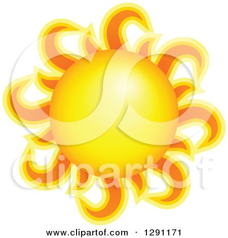 Clipart of a Summer Sun with Fiery Rays - Royalty Free Vector Illustration by visekart