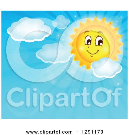 Clipart of a Happy Summer Sun Character Shining in a Blue Sky with Clouds and Text Space - Royalty Free Vector Illustration by visekart