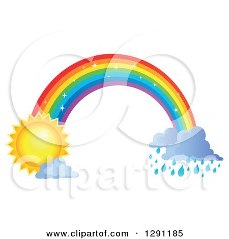 Clipart of a Sparkly Magic Rainbow Arch with Rain Clouds at One End and a Sun at the Other - Royalty Free Vector Illustration by visekart