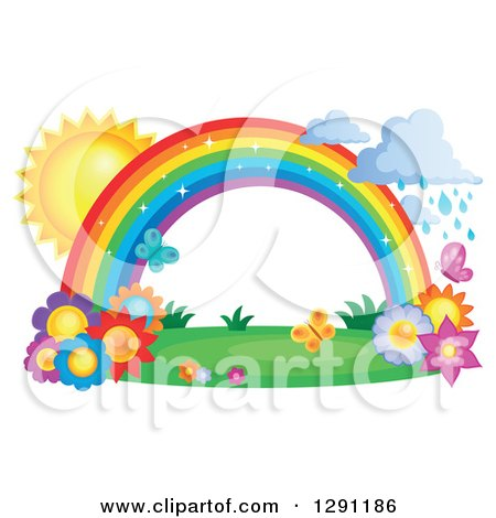 Clipart of a Sparkly Magic Rainbow Arch with Rain Clouds, the Sun, Butterflies and Spring Flowers - Royalty Free Vector Illustration by visekart