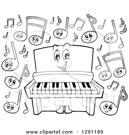 Grand Piano Cartoon Black And White Cartoon Black And White