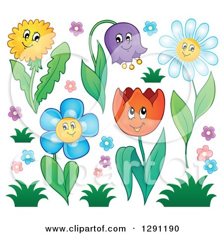 Clipart of Happy Cartoon Flower Characters with Grass - Royalty Free Vector Illustration by visekart