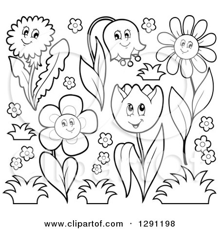 Clipart of Black and White Happy Cartoon Flower Characters with Grass - Royalty Free Vector Illustration by visekart