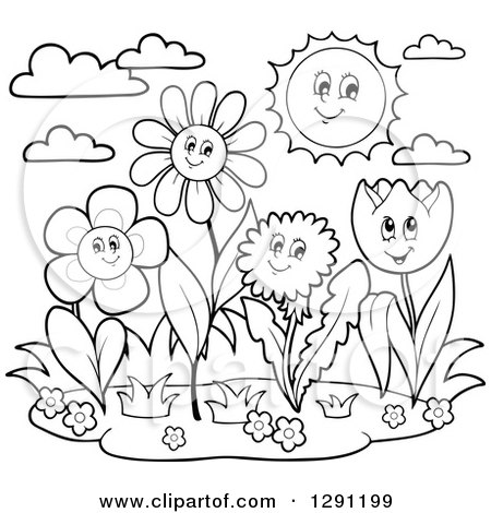 Clipart of Black and White Group of Happy Cartoon Flower Characters and the Sun - Royalty Free Vector Illustration by visekart