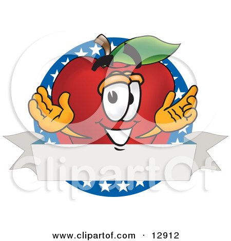Clipart Illustration of a Red Apple Character Mascot Logo With Stars by Toons4Biz