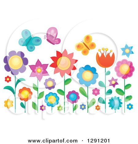 Clipart of Colorful Butterflies over Flowers in a Garden - Royalty Free Vector Illustration by visekart