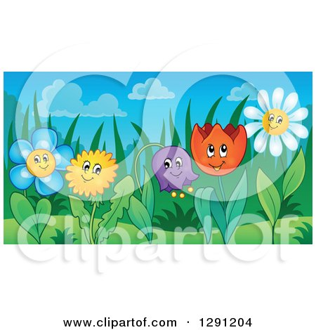 Clipart of Happy Dandelion, Daisy, Bell, and Tulip Flower Characters in a Garden - Royalty Free Vector Illustration by visekart