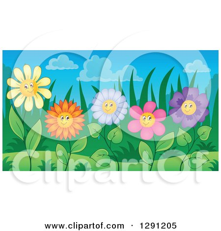 Clipart of Colorful Happy Flower Characters in a Garden - Royalty Free Vector Illustration by visekart
