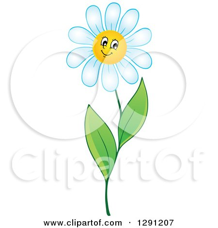 Clipart of a Happy Cartoon White Daisy Flower Character - Royalty Free Vector Illustration by visekart