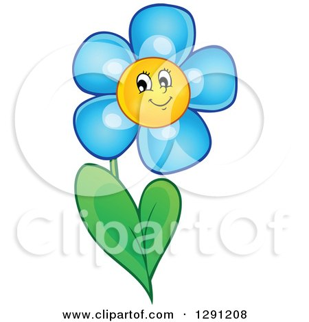 Clipart of a Happy Cartoon Blue Daisy Flower Character - Royalty Free Vector Illustration by visekart