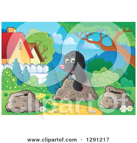 Clipart of a Cute Happy Mole Emerging from a Hole in a Yard - Royalty Free Vector Illustration by visekart