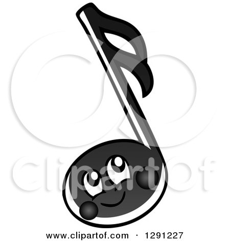 Clipart of a Happy Cartoon Black Music Note Character - Royalty Free Vector Illustration by visekart