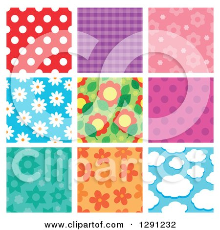Clipart of Polka Dot, Plaid, Floral and Cloud Seamless Background Patterns - Royalty Free Vector Illustration by visekart
