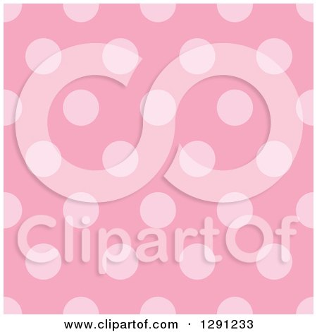 Clipart of a Seamless Background Pattern of Pink Polka Dots - Royalty Free Vector Illustration by visekart