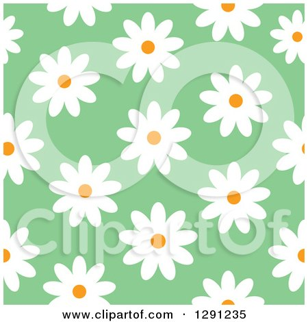 Clipart of a Seamless Background Pattern of White Daisy Flowers on Green - Royalty Free Vector Illustration by visekart