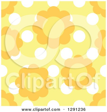 Clipart of a Seamless Background Pattern of Daisy Flowers over White Polka Dots on Yellow - Royalty Free Vector Illustration by visekart