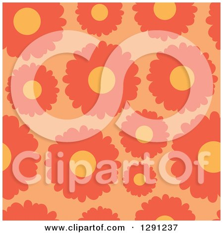 Clipart of a Seamless Background Pattern of Orange Daisy Flowers - Royalty Free Vector Illustration by visekart