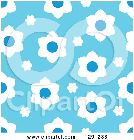 Clipart of a Seamless Background Pattern of White and Blue Flowers - Royalty Free Vector Illustration by visekart