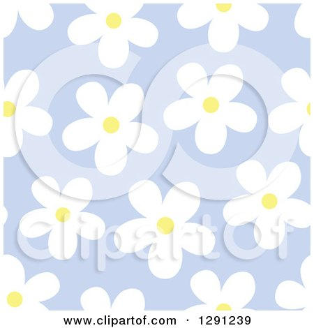 Clipart of a Seamless Background Pattern of White and Yellow Daisy Flowers on Purple - Royalty Free Vector Illustration by visekart