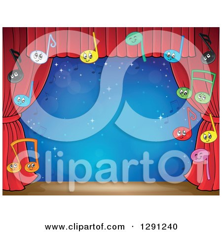 Clipart of a Stage with Happy Music Note Characters and Red Curtains - Royalty Free Vector Illustration by visekart