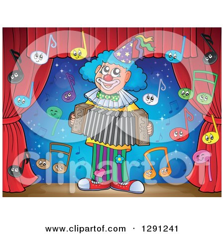 Clipart of a Stage with Happy Music Note Characters and a Clown Playing an Accordion - Royalty Free Vector Illustration by visekart