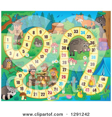 Clipart of a Board Game of Wild Animals and Scouts Camping - Royalty Free Vector Illustration by visekart