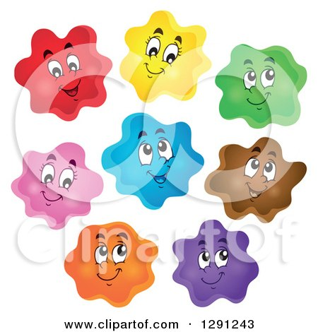 Clipart of Happy Cartoon Colorful Blobs - Royalty Free Vector Illustration by visekart