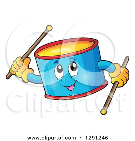 Clipart of a Happy Cartoon Drum Character Holding Sticks - Royalty Free Vector Illustration by visekart