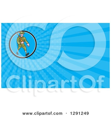 Clipart of a World War I British Soldier Marching with a Rifle and Blue Rays Background or Business Card Design - Royalty Free Illustration by patrimonio