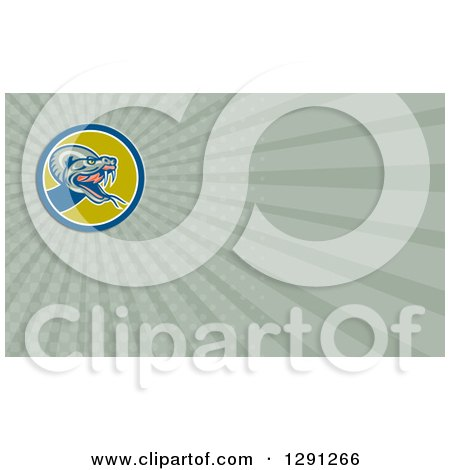 Clipart of a Retro Viper Snake and Green Rays Background or Business Card Design - Royalty Free Illustration by patrimonio