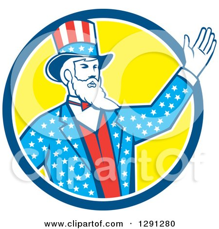 Clipart of a Retro American Uncle Sam Waving in a Blue White and Yellow Circle - Royalty Free Vector Illustration by patrimonio