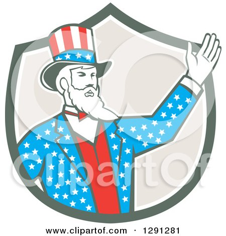 Clipart of a Retro American Uncle Sam Waving in a Shield - Royalty Free Vector Illustration by patrimonio