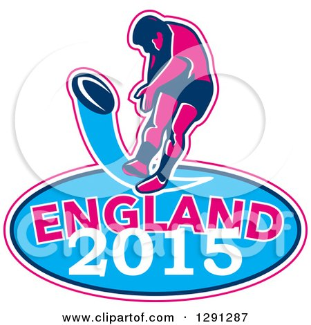 Clipart of a Retro Rugby Union Player Kicking a Ball Ball in a Pink White and Blue England 2015 Oval - Royalty Free Vector Illustration by patrimonio