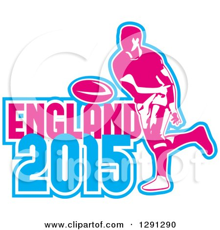 Clipart of a Retro Rugby Union Player Passing a Ball, and White Pink and Blue England 2015 Text - Royalty Free Vector Illustration by patrimonio