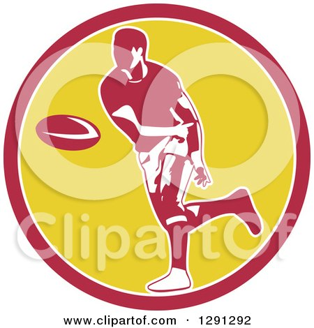 Clipart of a Retro Rugby Union Player Passing a Ball in a Pink White and Yellow - Royalty Free Vector Illustration by patrimonio