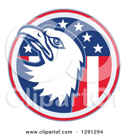 Clipart of a Bald Eagle Head Emerging from an American Flag Circle - Royalty Free Vector Illustration by patrimonio