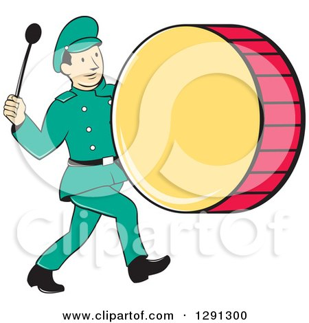 Clipart Of A Retro Cartoon Marching Band Drummer Man Royalty Free Vector Illustration