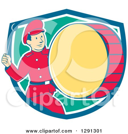 Clipart of a Retro Cartoon Marching Band Drummer Man Emerging from a Blue White and Turquoise Shield - Royalty Free Vector Illustration by patrimonio
